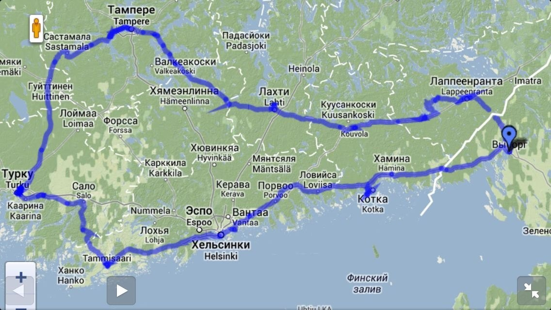 Маршрут путешествия по Финляндии